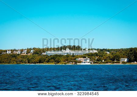 Mackinac Island Mi /usa - July 9th 2016: A View Of The Grand Hotel On Mackinac Island From Lake Mich