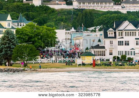 Mackinac Island Mi /usa - July 9th 2016: Downtown Mackinac Island Shot From A Boat On Lake Michigan