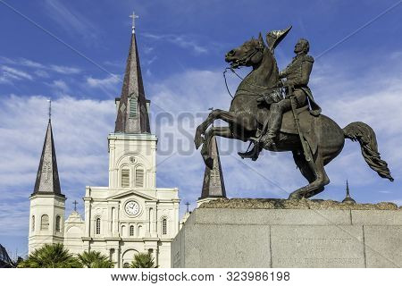 New Orleans, Usa - Dec 17, 2017: Close-up View Of The Commemorative Statue Of General Andrew Jackson