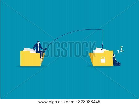 Business Man Steal Data ,hacker Attack On File Vector Illustration. Attack Hacker To Data, Phishing