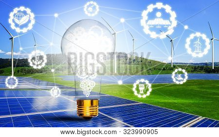 Green Energy Innovation Light Bulb With Future Industry Of Power Generation Icon Graphic Interface.