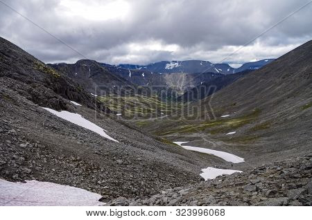 Mountain Valley In Khibiny Range, Mountains Above The Arctic Circle, Kola Peninsula, Russia