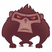 Vector cartoon illustration of an angry ape with red eyes. poster