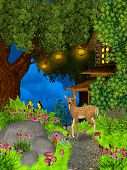 Night in the fairy forest with deer poster