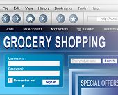Illustration depicting a computer screen shot with an online grocery shopping concept. poster