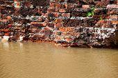 old brick wall flood in Ayutthaya Thailand poster