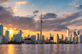 Spectacular Sunset At Toronto City, Toronto, Ontario, Canada.