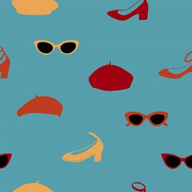 Hand Drawn Seamless Pattern With Sunglasses, Shoes And Berets On Blue Green Background.