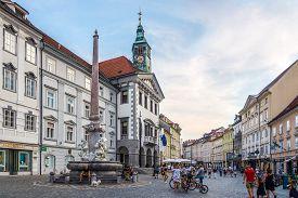 Ljubljana,slovenia - September 1,2019 - Evening At The Main Square Of Ljubljana. Ljubljana Is The Ca