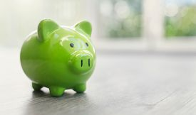 Piggy bank on floor concept for saving, accounting, banking and business account