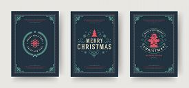 Christmas Greeting Cards Set Vintage Typographic Design, Ornate Decoration Symbols With Winter Holid