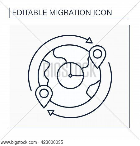 Migrant Flow Line Icon. Migrants Number Crossing Boundary. Entering Or Leaving Given Country During