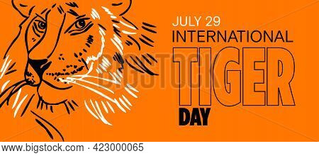 International Tiger Day. July 29. Template For Your Design. Tiger's Head Vector Illustration. Orange