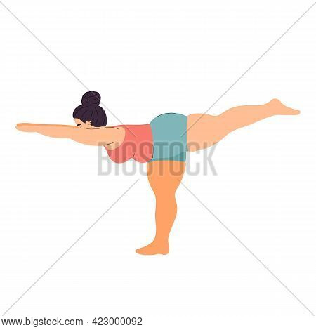 Fat Woman Practices Yoga. Sports And Fitness. Fat Girl Practices Asanas. Yoga Poses. Stock Vector Il