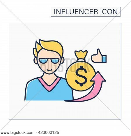 Influencer Sponsorship Color Icon. Content Created In Partnership With Brands. Promotion Products By