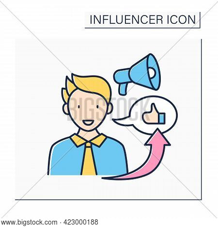 Influencer Marketing Color Icon. Promote Products Or Services Through Influencers.marketing In Socia