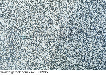 Texture Of Granite Chips In Concrete Close-up. Colored Granite Floor, Textured Background. Concrete