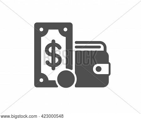 Wallet Money Simple Icon. Cash Coin Sign. Dollar Banknote Symbol. Classic Flat Style. Quality Design