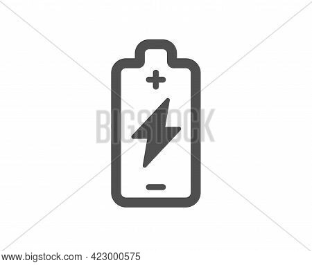 Battery Charging Simple Icon. Electricity Energy Type Sign. Lightning Bolt Symbol. Classic Flat Styl