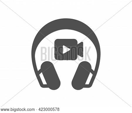 Headphones With Video Camera Simple Icon. Online Conference Sign. Virtual Education Symbol. Classic