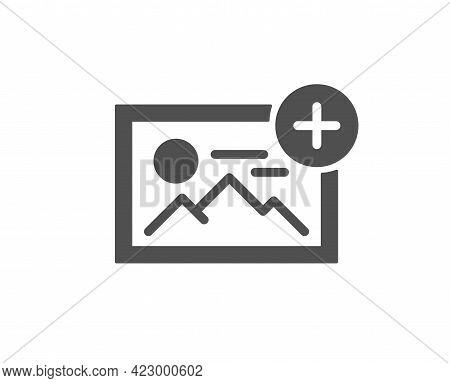 Add Photo Simple Icon. Image Thumbnail Sign. Picture Placeholder Symbol. Classic Flat Style. Quality