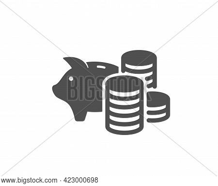 Piggy Bank Simple Icon. Coins Money Sign. Business Savings Symbol. Classic Flat Style. Quality Desig