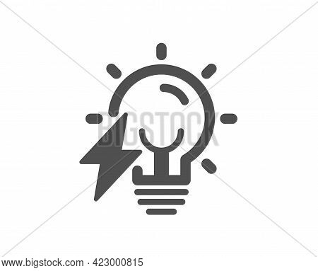 Electricity Bulb Simple Icon. Energy Type For Lamp Sign. Lightning Bolt Symbol. Classic Flat Style.