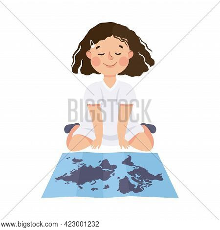 Cute Girl Having Geography Lesson, Elementary School Student Viewing World Map, Kids Education Conce