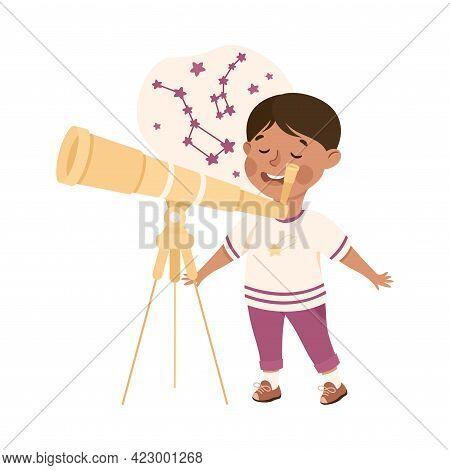Cute Boy Having Astronomy Lesson, Elementary School Student Looking Through Telescope, Kids Educatio