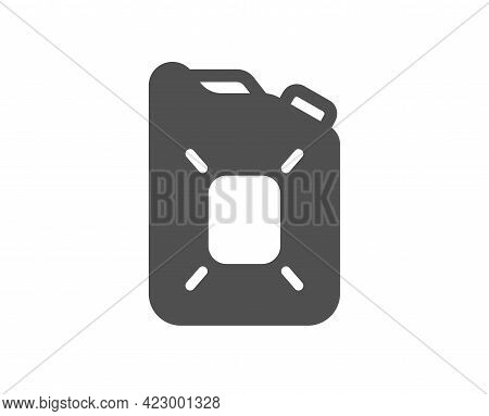 Canister Of Oil Simple Icon. Gasoline Or Diesel Fuel Sign. Petroleum Power Energy Symbol. Classic Fl