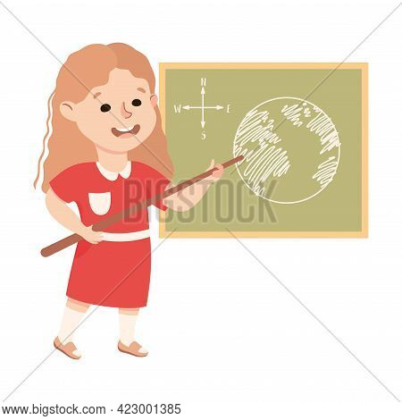 Cute Girl Having Geography Lesson, Elementary School Student Standing At Blackboard With Earth Map,