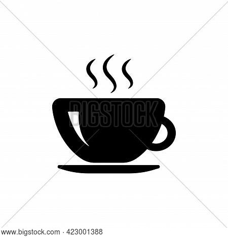 Cup Of Coffee Icon Template Black Color Editable. Coffe Cup Symbol Vector Sign Isolated On White Bac
