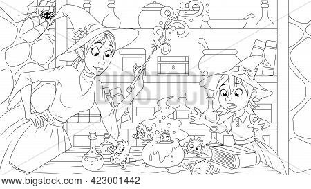 Vector Illustration, Witches Mom And Daughter Are Engaged In Cheerful Witchcraft, In Their Home, Col