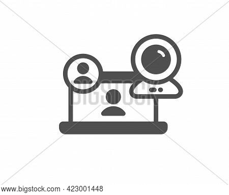 Video Conference Simple Icon. Online Training Sign. Web Camera Symbol. Classic Flat Style. Quality D