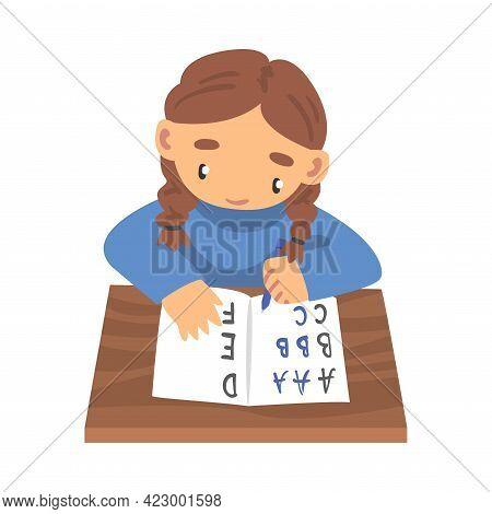 Cute Girl Learning To Write, Elementary School Student Making Homework Cartoon Vector Illustration
