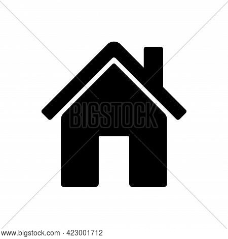 Home Chimney Simple Vector Icon. Black House Symbol Pictogram For Web Button Homepage In Modern Flat