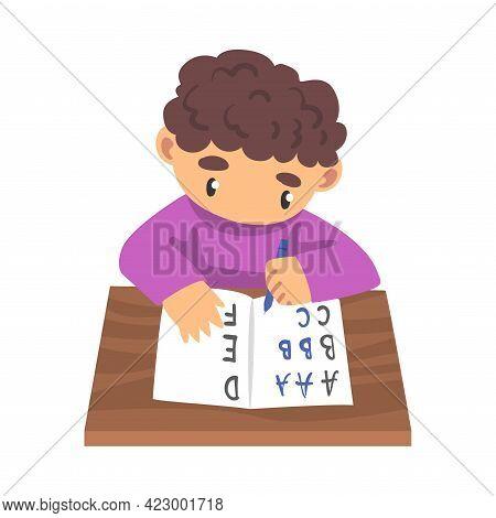 Adorable Boy Learning To Write, Elementary School Student Making Homework Cartoon Vector Illustratio