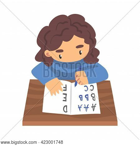 Cute Girl Learning To Write, Elementary School Student Sitting At His Desk And Writing Cartoon Vecto