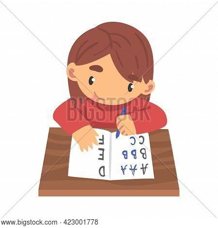 Lovely Girl Learning To Write In Notebook, Elementary School Student Making Homework At Her Desk Car