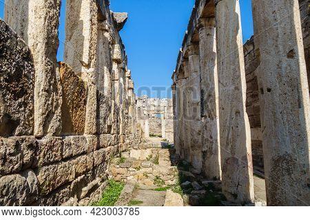 Antique Latrine In Ancient City Hierapolis, Pamukkale, Turkey. There Are Entrance, Columns & Remains