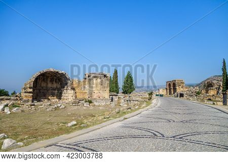 Road Leading To North Necropolis Of Antique City Hierapolis, Pamukkale, Turkey. There Are Remains Of