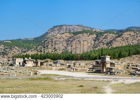 Panoramic View Onto Necropolis In Antique City Hierapolis, Pamukkale, Turkey. There Are Remains Of C