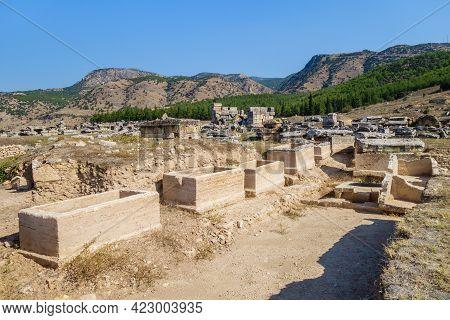 Underground Sarcophagus In Necropolis In Antique City Hierapolis, Pamukkale, Turkey. Some Of Them Ha