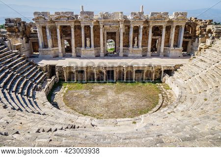 Theater Scaenae Or Decoration Of Scene In Antique City Hierapolis, Pamukkale, Turkey. There Are Stat