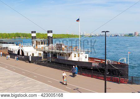 Krasnoyarsk, Russia - 3 June, 2021: Steamer-museum St. Nicholas Is A Ship-museum, Which Is Permanent