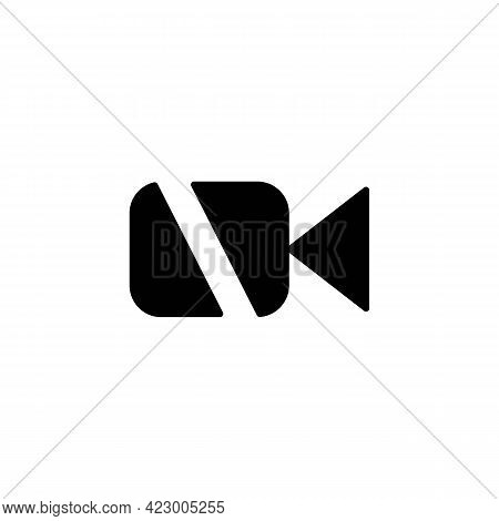 Turn Off Video In Chat Solid Black Line Icon. No Video. Disable Camera Button. Flat Isolated Symbol