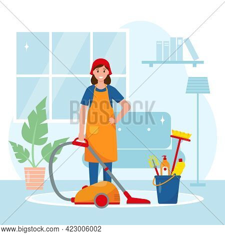 Female Housekeeper Or Housewife Washing Floor. Cleaning House Service Concept. Woman With Vacuum Cle