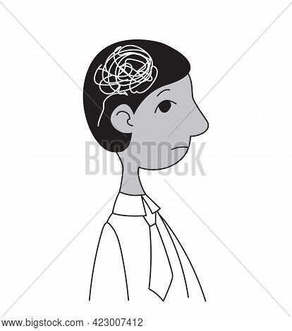 Profile Of A Male Manager With White Scribbles In His Head. Stress And Psychological Problems Vector