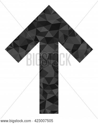 Low-poly Up Direction Arrow Combined With Chaotic Filled Triangles. Triangle Up Direction Arrow Poly