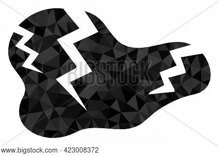Low-poly Crack Designed With Randomized Filled Triangles. Triangle Crack Polygonal Symbol Illustrati